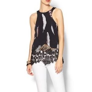 Line & Dot Feather Laced Tank Blouse